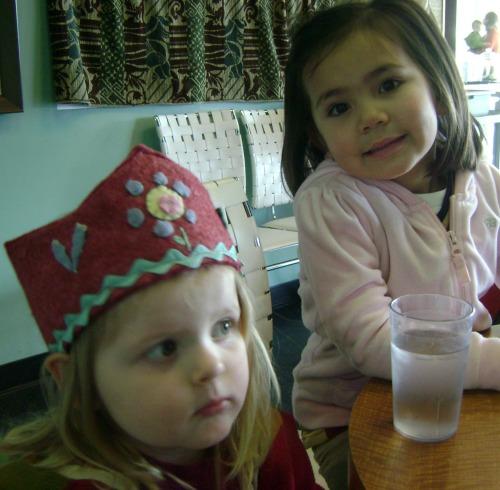 PZ in her birthday crown with cousin Lauren